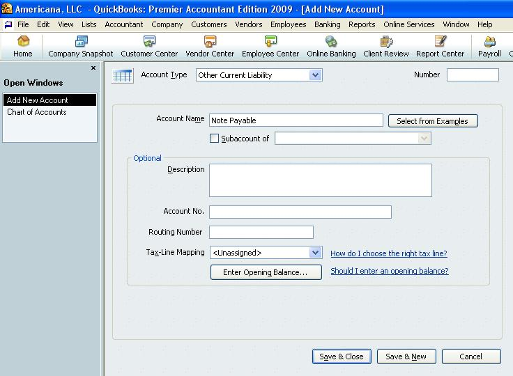 QuickBooks Note Payable Account